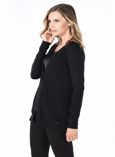 WHIP Design Düz V Yaka Standart Boy Uzun Kol Triko Siyah